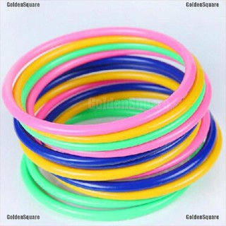 5Pcs 13.5CM Hoop Ring Toss Cast Circle Sets Educational Toy Kids Puzzle Game [GoldenSquare]