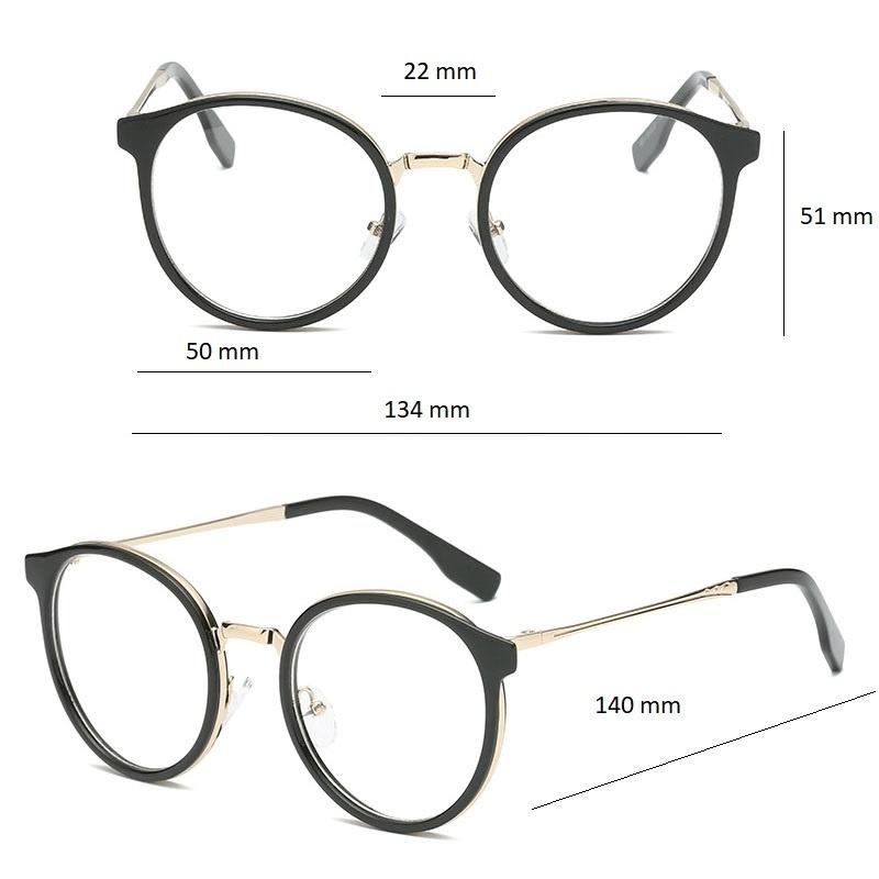 Gọng kính cận cho nữ Aoron mắt kính tròn gọng kính kim loại màu sắc thời trang AK032
