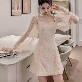 [có sẵn/hình thật] Đầm dự tiệc tay phồng. Váy trắng công chúa tay ren cổ vuông đính đá cao cấp