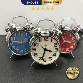 Đồng Hồ Để Bàn Báo Thức Inox kim trôi không gây tiếng động chuông to sang trọng hiện đại cao cấp hẹn giờ cho phòng ngủ