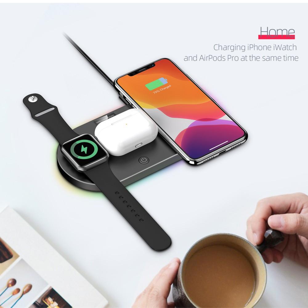 Đế Sạc Nhanh Không Dây 3 Trong 1 Qi Cho Apple Watch Iphone 11 X Xs 8
