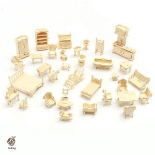 34 Pcs/Set 3D Wooden Miniature Puzzle Dollhouse Furniture Model Mini Puzzle Toys for Children Gift
