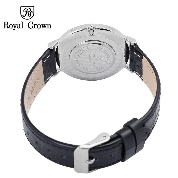 Đồng hồ nam Chính Hãng Royal Crown 7601 Leather Watch (Dây da đen)