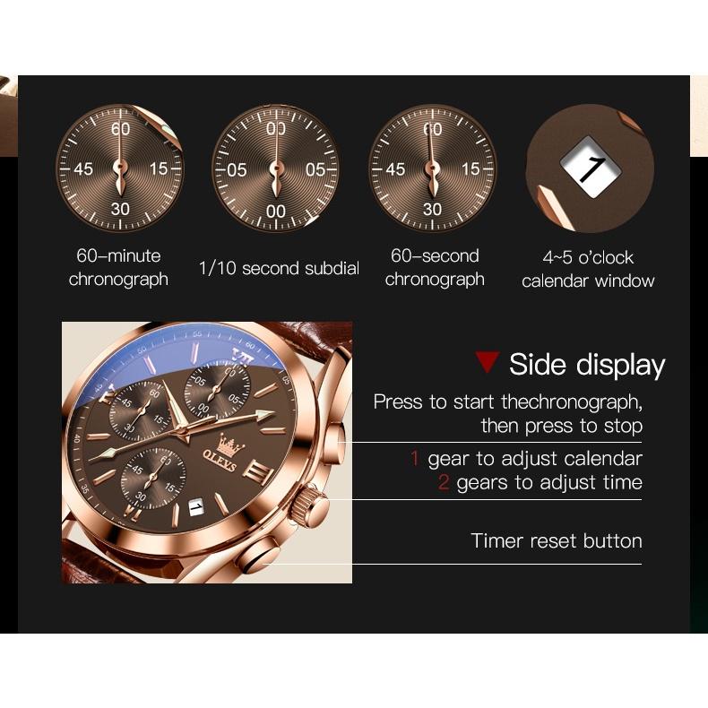 OLEVS 2872 Watch Men's Leather Strap Genuine Waterproof Luminous Wear-resistant Calendar Three-eye Chronograph Dial Multi-function Business Style