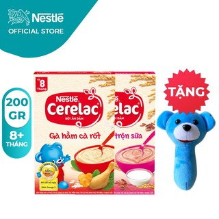 [Tặng Lục Lạc Gấu Cầm Tay] Combo 2 Hộp Bột Ăn Dặm Nestlé Cerelac Gạo Lức Và Gà Hầm 200g Hộp thumbnail
