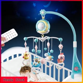 Baby Rattles Crib Mobiles Toy Holder Rotating Crib Bed Bell With Music Box Projection For 0-18 Months Newborn Infant