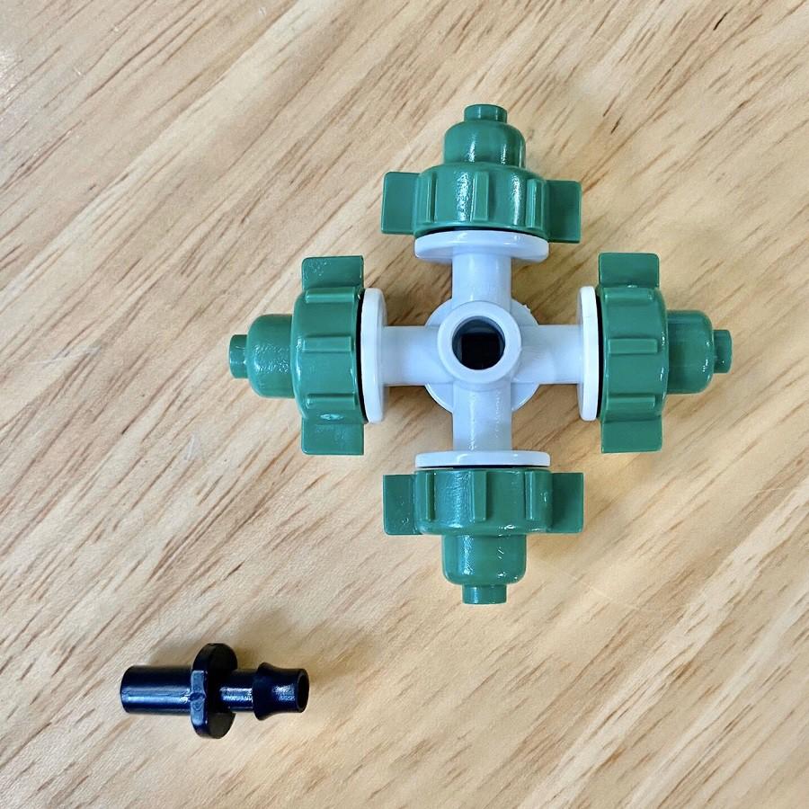 Bộ Béc phun sương 4 hướng kèm kết nối nhanh 8mm dòng tưới cây cảnh, cây lan, làm mát mái tôn, tưới rau