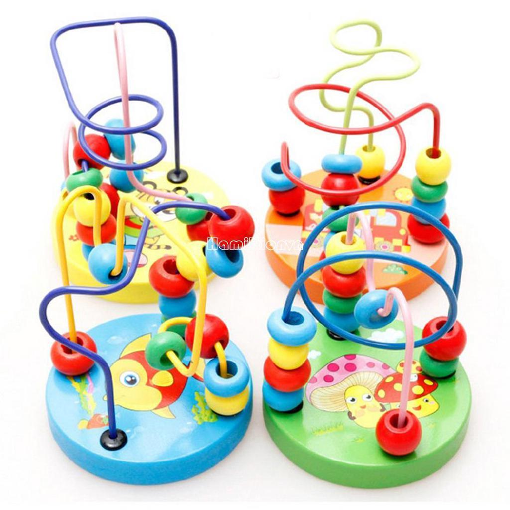 ❤COD Baby Toddler Lovely Animals Maze Roller Coaster Round Beads Educational Toys