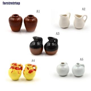 【FSTTTOP】1:12 Dollhouse Miniature Toy Vintage Porcelain Decoration Ceramic Vas