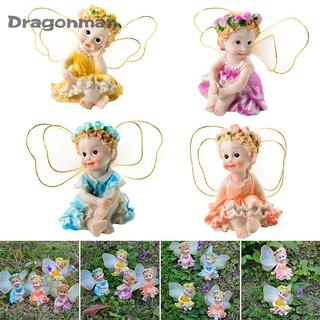 4pcs Cute Flower Fairy Ornaments Small Princess Figurines Wing Cherub Children's Room Home Decor