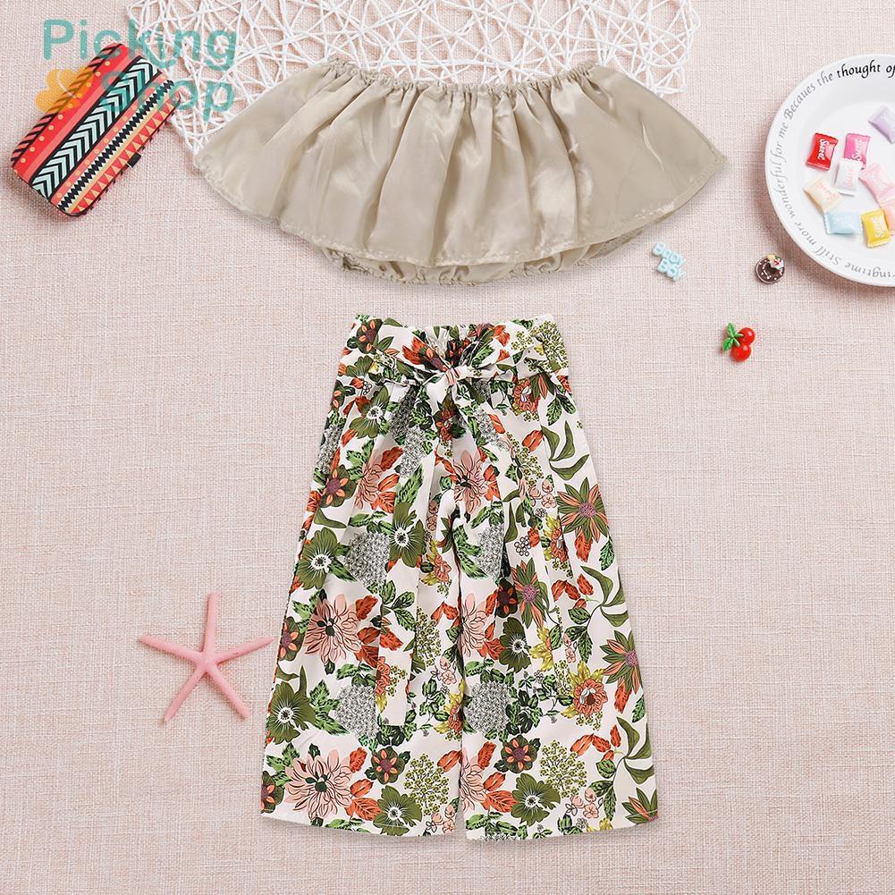 Cute Toddler Kids Girl Summer Off Shoulder Crop Tops Pants 2pcs Clothes Set