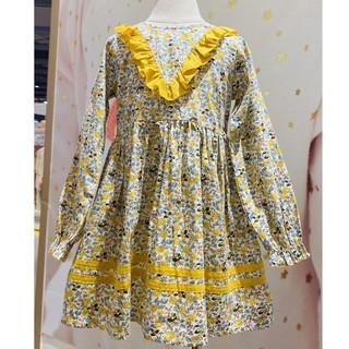Váy suông màu vàng cho bé gái CROWN KIDS CKGL2801022.DP size 2-8/2-10 tuổi