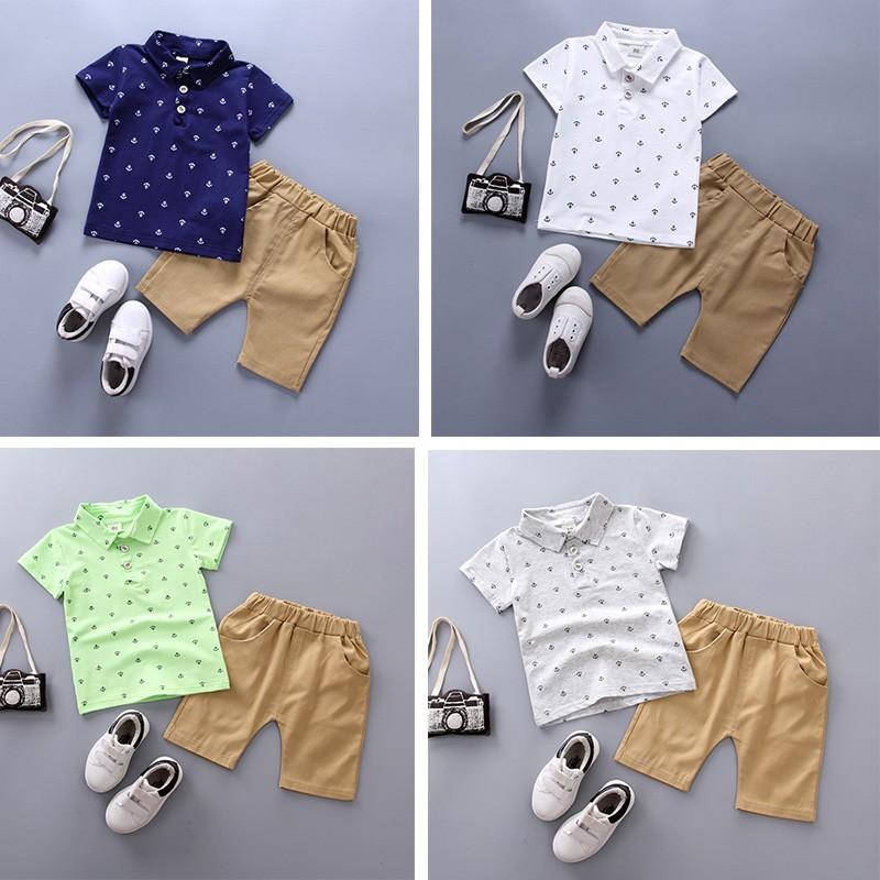 Bộ áo polo in họa tiết nhí + quần cho bé