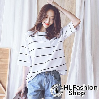 Áo thun tay lỡ trơn sọc trắng to bản form rộng, áo phông nữ HLFashion thumbnail