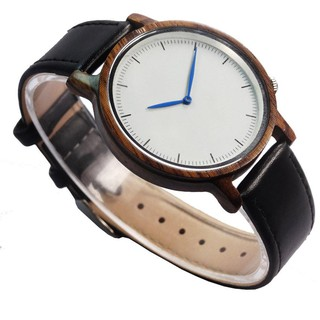 Wood Quartz Watch Leather Strap White Face Blue Needle Men's Watch