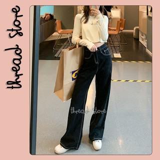 💕 Quần Jeans nữ đen ống rộng mẫu mới | Quần jeans bò hàng order nội địa Trung Quốc NO.119 💕