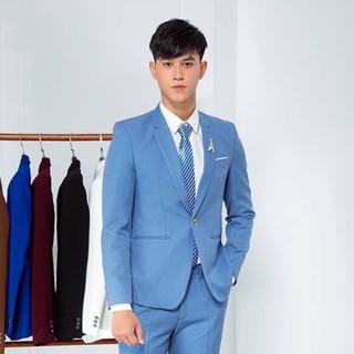 Bộ vest nam màu xanh hòa bình 1 cúc trẻ trung 06 Tulino