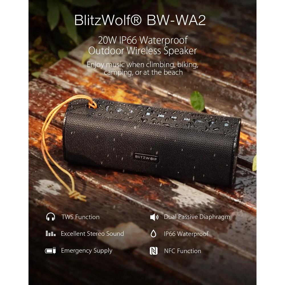 Loa bluetooth không dây BlitzWolf® BW-WA2 20W Màng loa thụ động kép TWS NFC Bass âm thanh nổi ngoài trời Soundbar có mic