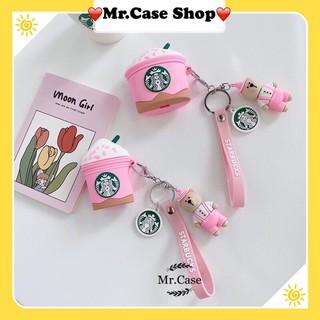 Case AirPods 1/2 Pro Starbuck Kèm Móc Khoá Gấu Hồng