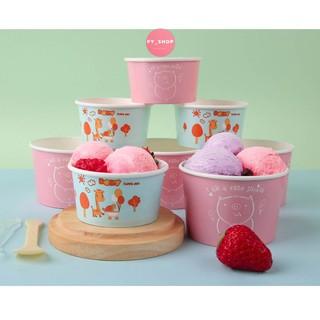 Sỉ 100 cốc cừu có nắp, cốc giấy đựng kem, cốc giấy dùng 1 lần đựng bánh kem, cupcake thumbnail