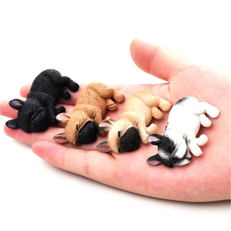 Dollhouse Resin Mini Cute French Bulldogs Model 1:12 1:6 Dollhouse Decor