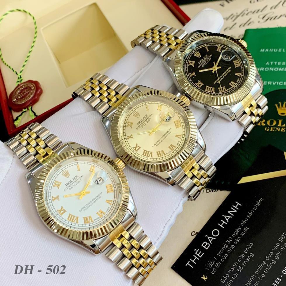 Đồng hồ nam RL máy pin mặt tròn viền băm dây kim loại cao cấp DH502 shop105