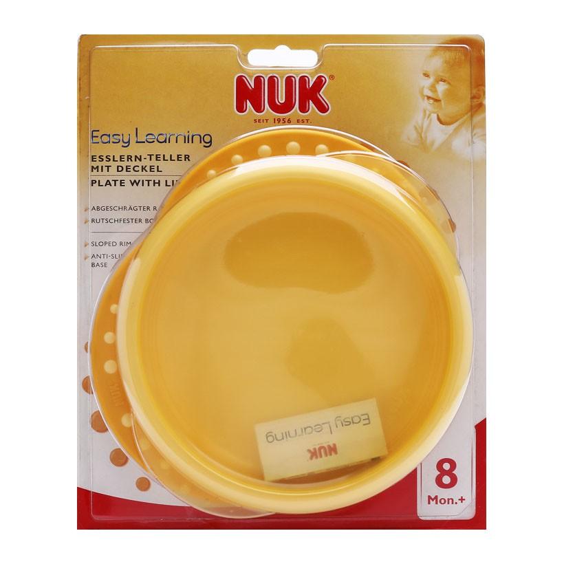 Đĩa ăn bằng nhựa có nắp Nuk trên 8 tháng tuổi