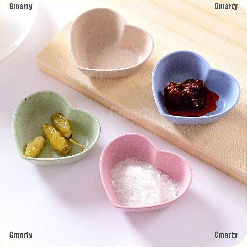 Gmarty heart shape fruit snack sauce bowl kids feed food container tableware dinner plates