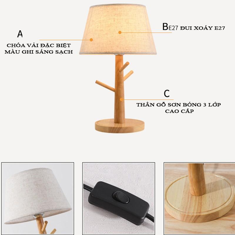 Đèn ngủ để bàn - đèn ngủ - đèn trang trí phòng ngủ Vintage thân gỗ tặng kèm bóng LED chuyên dụng