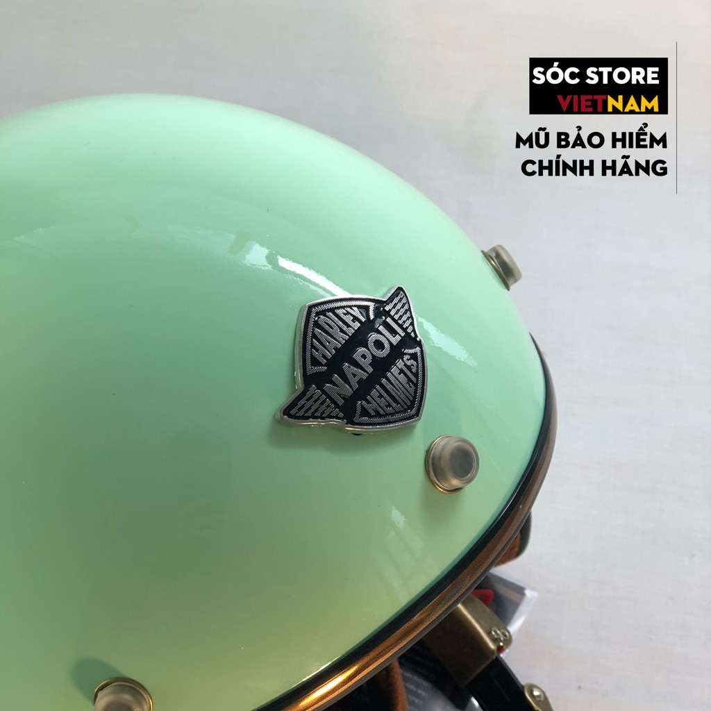 Mũ bảo hiểm 3 phần 4 chính hãng Napoli màu xanh lá, nón bảo hiểm 3 phần 4 nam nữ Sóc Store freesize