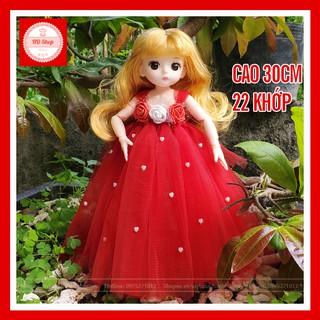 Búp bê công chúa tóc vàng đầm đỏ cao 30cm cho bé gái FREESHIP Đồ chơi búp bê cho bé gái tặng kèm đầm và giầy thumbnail