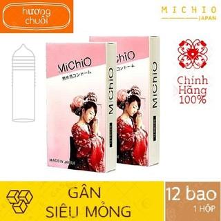 Bao cao su MICHIO - COMBO 2 HỘP 24 BAO - CHÍNH HÃNG 100% - BCS Nhật Bản Siêu mỏng, nhiều gel có gân hương chuối quyến rũ thumbnail