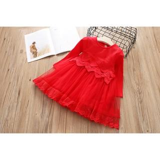 Váy len voan tay dài, 3 màu Hồng Xám Đỏ