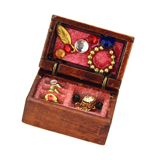 HW 1:12 Doll House Miniature Wooden Sticker Jewelry Box