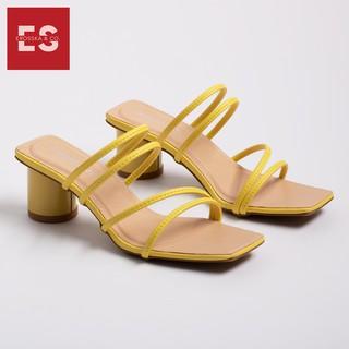 Hình ảnh Dép cao gót Erosska thời trang mũi vuông phối dây quai mảnh cao 5cm màu kem _ EM038-3
