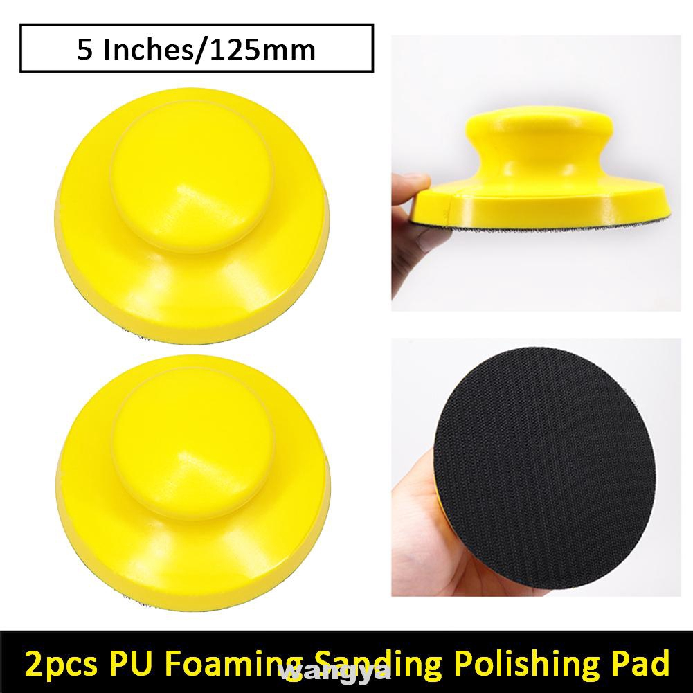 2pcs 5 Inches PU Foaming Processing Sandpaper Backing Abrasive Self Adhesive Durable With Handle Sanding Disc Holder