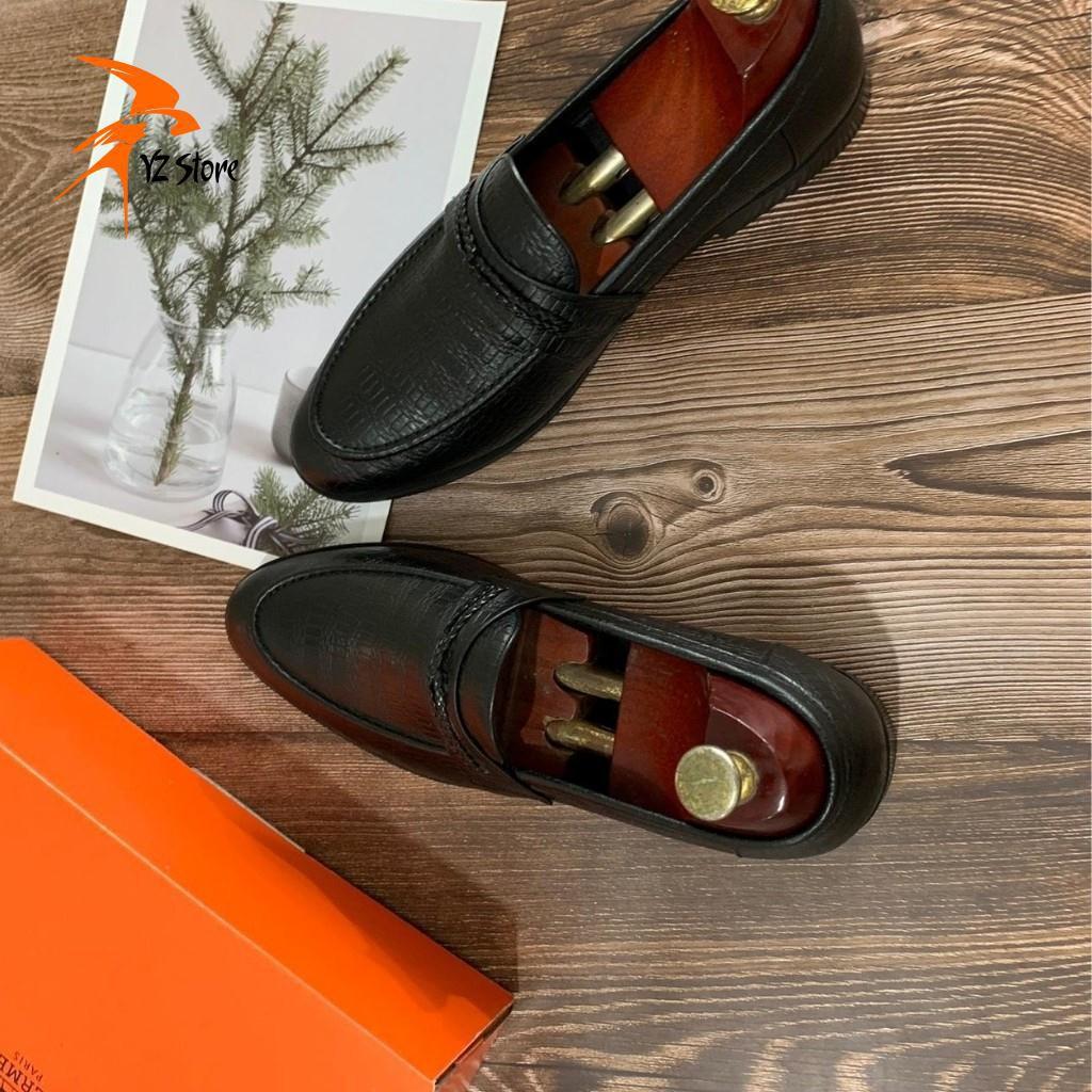 [DA THẬT - BH 12 THÁNG]Giày Tây Công Sở Da Bò Màu Đen Đai Dệp Vân