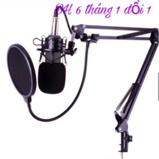 Míc livestream BM 800 chân kẹp míc và màng lọc âm