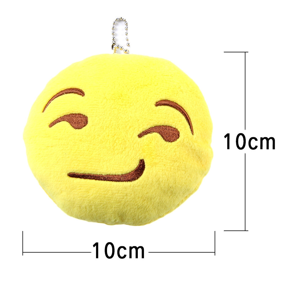 5 Styles Soft Emoji Smiley Emoticon Phone Key Chain Ring Strap Yellow Stuffed Plush Toy Doll Christmas Present