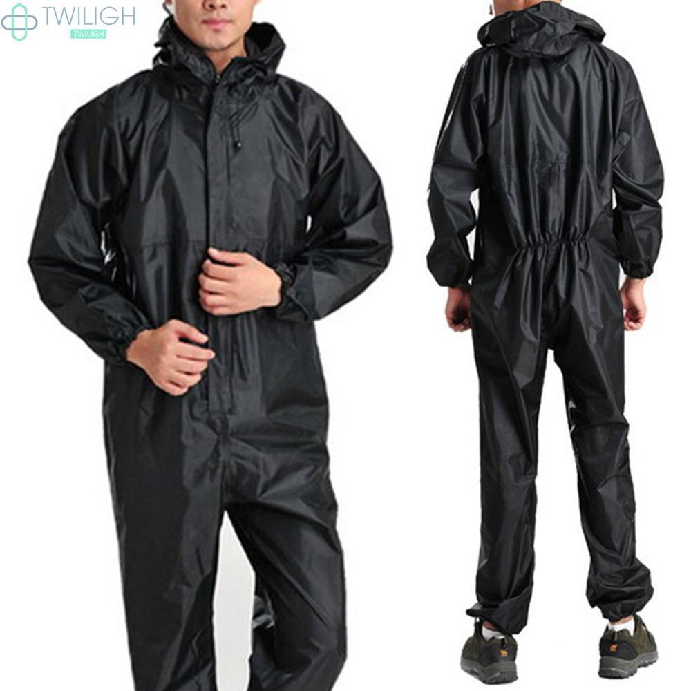 Áo mưa liền quần màu đen chất liệu PVC chống thấm nước cho người lớn chạy xe mô tô M-3XL