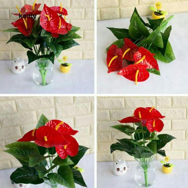 Hoa Giả-Cây Hồng Môn Cỡ Lớn( Không Kèm Chậu)