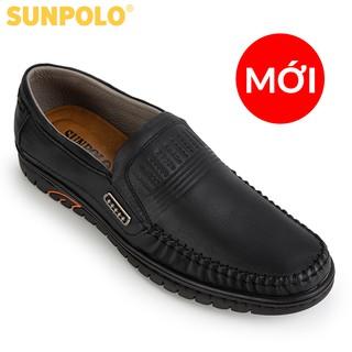 Giày Lười Nam Da Bò SUNPOLO Đen Nâu - SU3028