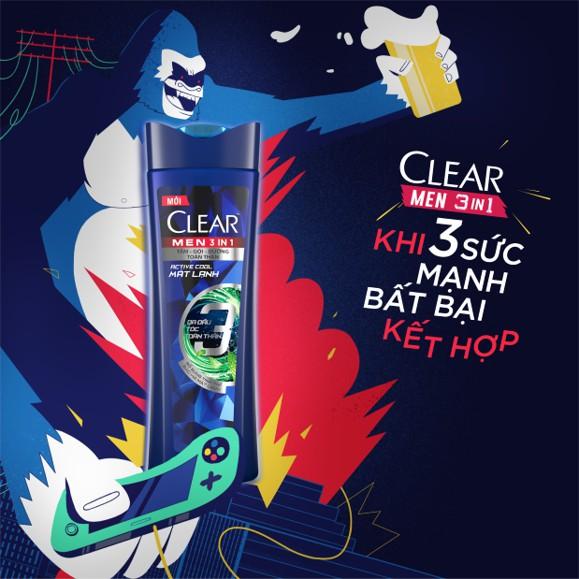 Combo 2 chai Dầu tắm gội Clear Men 3 trong 1 Mát lạnh và Phong độ 630gr: Tắm + Gội + Dưỡng (Tặng nón bảo hiểm Graffity)