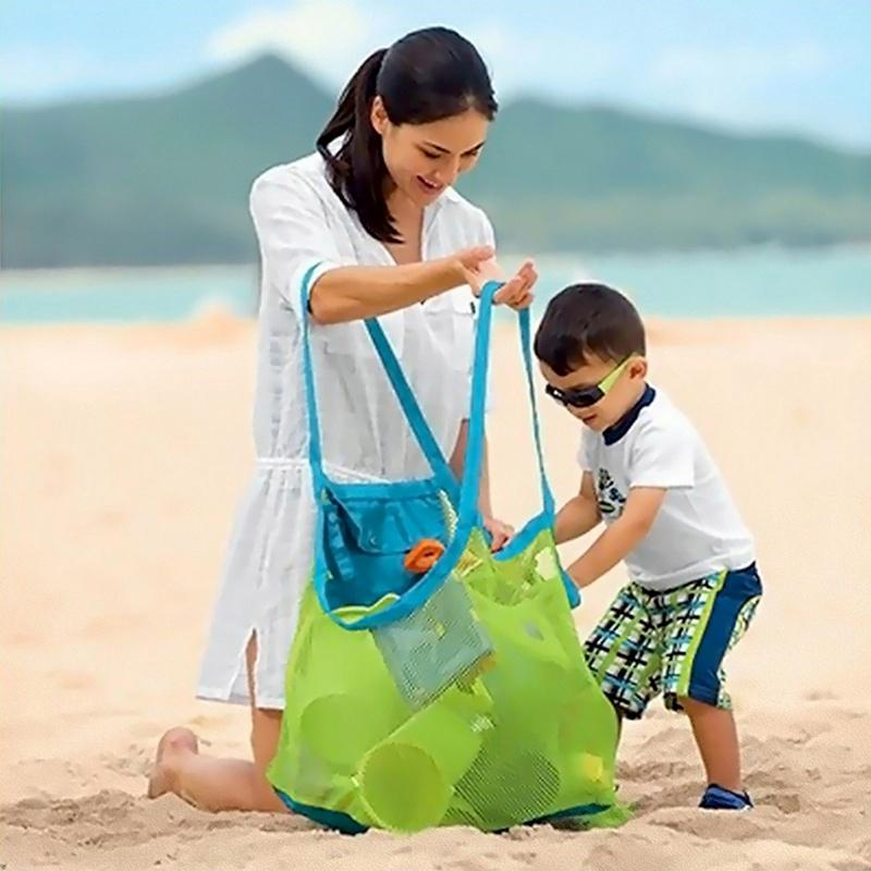 Kids Portable Collect Sand Mesh Toys Tote Bag Storage Beach Net Shell S Bag(size: L)