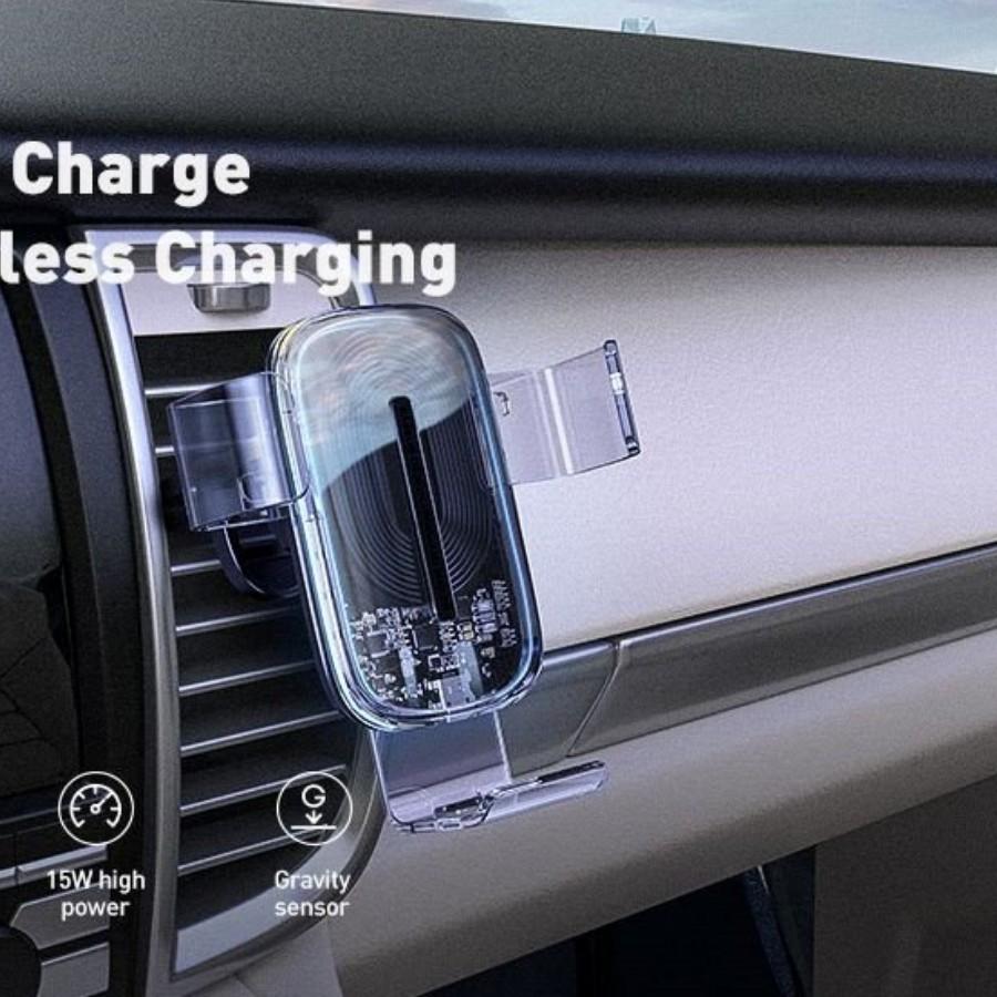 Bộ đế giữ điện thoại tích hợp sạc nhanh không dây dùng cho xe hơi Baseus Explore Wireless Charger Gravity Car Mount