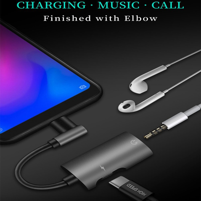 Type-C+3.5 Adapter Charging Listening Song Call Three-in-one Headphone Adapter