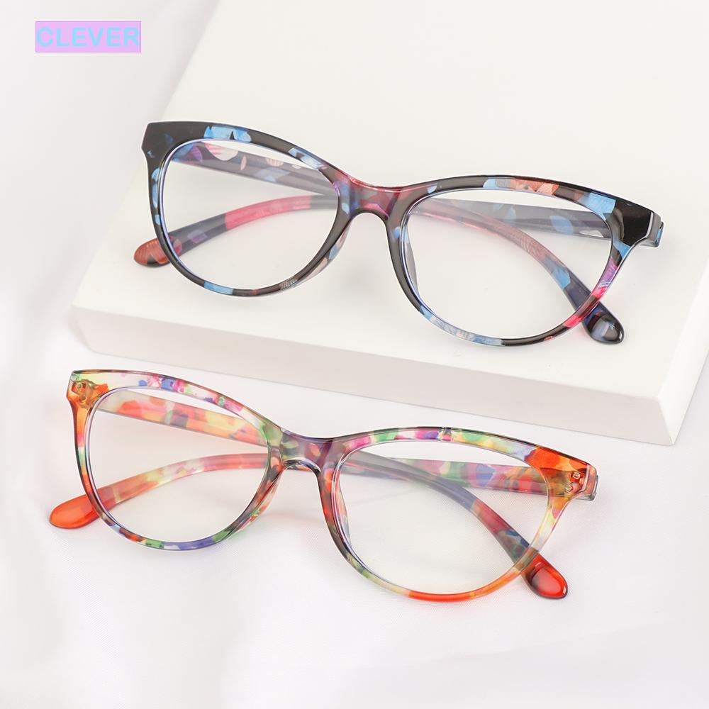 CLEVER Fashion Optical Eyewear Classic Computer Goggles Anti-blue Light Glasses Women Vision Care Retro Vintage Printing Presbyopia Eyeglasses