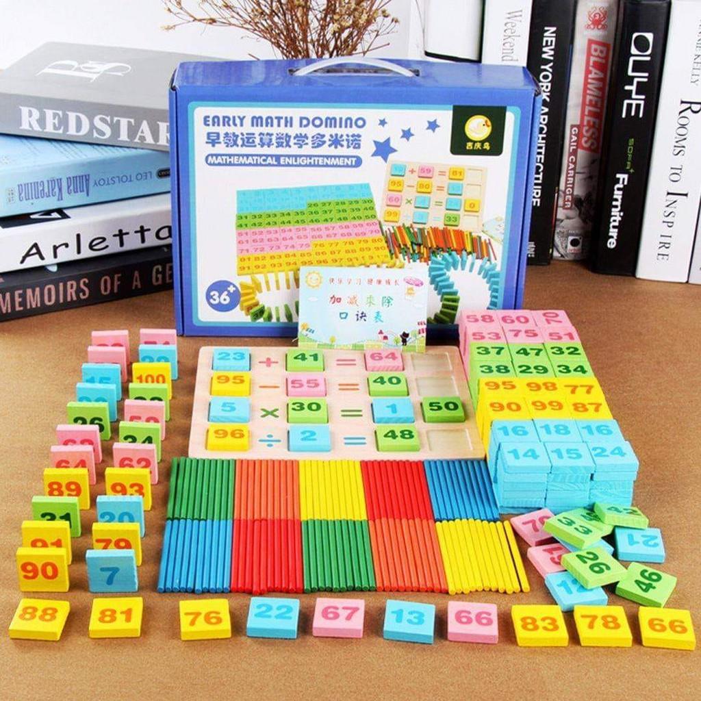 Đồ Chơi Toán Học Thông Minh 300 Chi Tiết Domino Bằng Gỗ Cho Bé Tập Tính