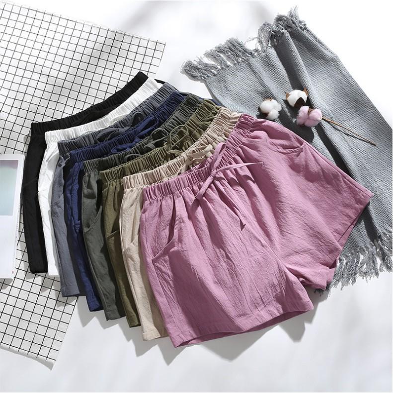 Quần short đũi xuất Nhật, quần short nữ trơn 10 màu chất vải siêu mát