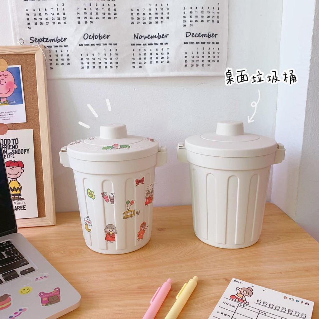 Thùng rác mini nắp lật để bàn học văn phòng tiện lợi 3 màu